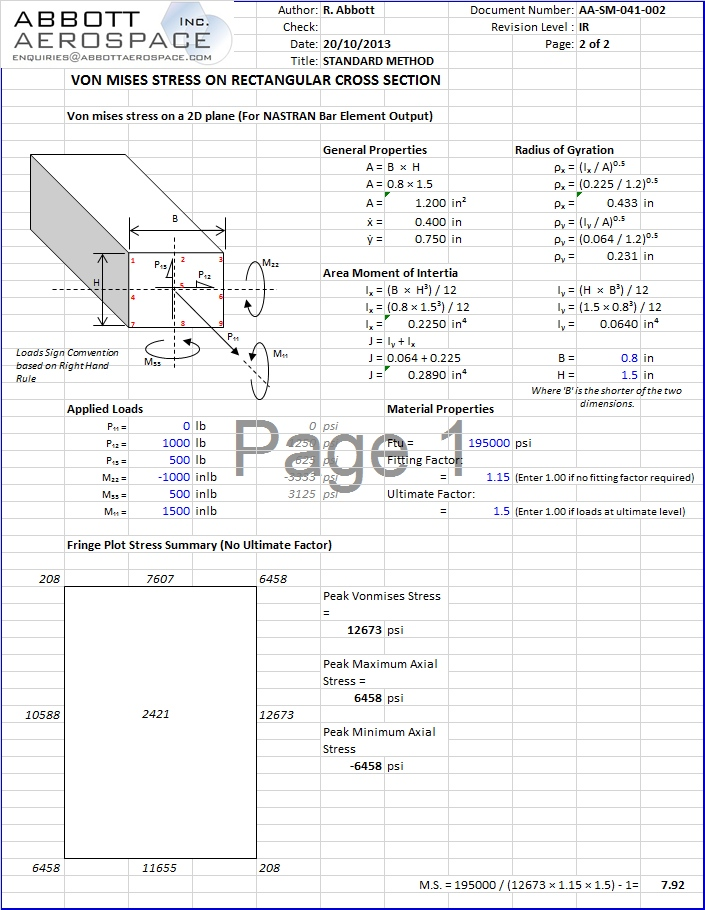 AA-SM-041-002 Stress Analysis – Von Mises Stress Rectangular section Incl Torsion