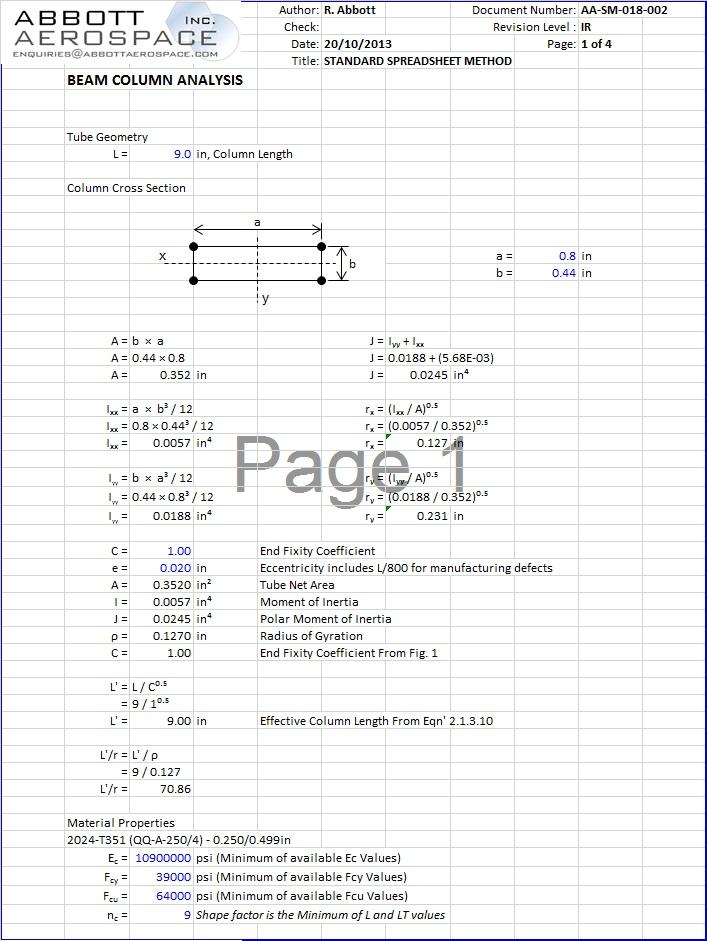 AA-SM-018-002 Beam Column Analysis