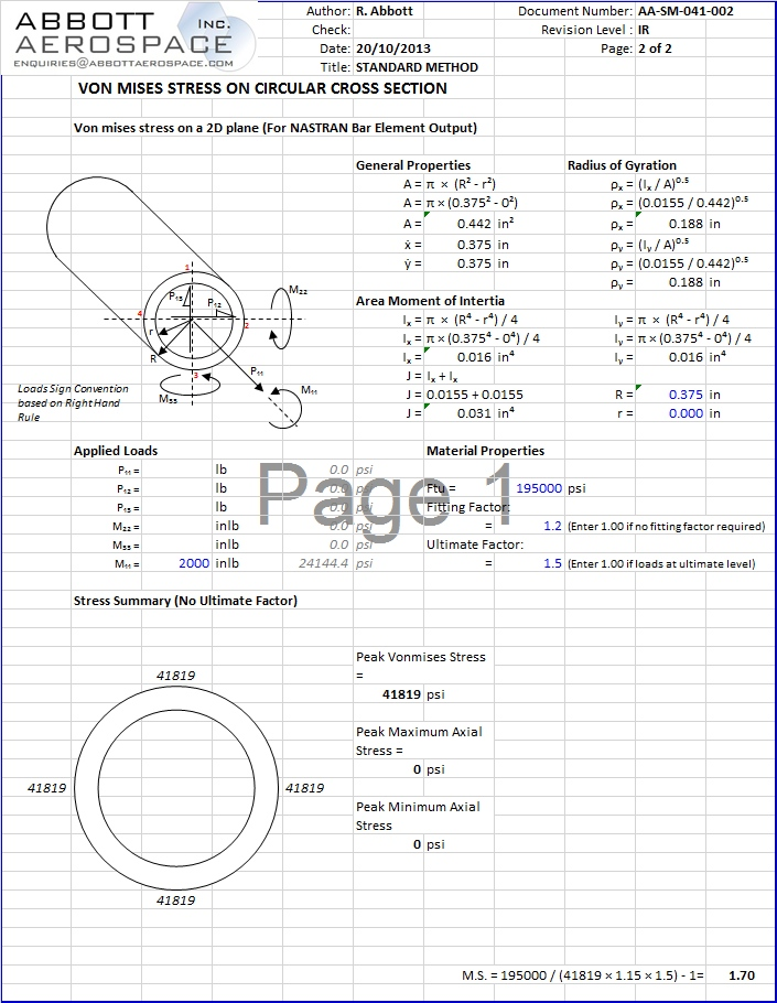 AA-SM-041-003 Stress Analysis – Von Mises Stress Circular Tube section Incl Torsion