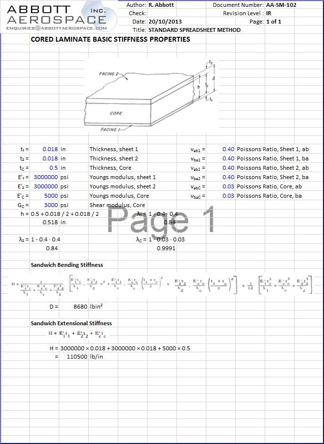 AA-SM-102 Cored Laminate Basic Stiffness Properties